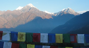 Far overlooking view from the monastery towards Lukla